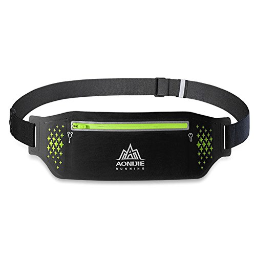 Price comparison product image AONIJIE Slim Sport Running Belt Waist Pack Water Resistant Fanny Pack for Men Women Hiking Fitness, Fit Ipone Below 6.5Inch, Adjustable Band (Black)