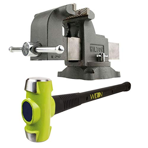 (Wilton WS8 8 Inch Swivel Base Steel Bench Vise w/ 10 Pound Steel Sledge Hammer)