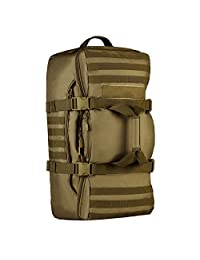 Protector Plus Tactical Molle Backpack Hiking Camping Multifunction 3 Way Outdoor Shoulder Tote Duffel Range Bag (60L, Brown)