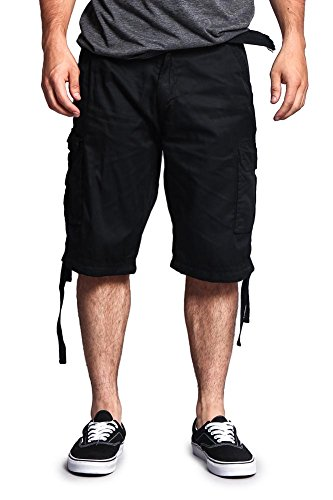 pstop Belted Cargo Shorts 9AP30 - SOLID BLACK - 32 - S7B (Boys Black Belted Jean Shorts)