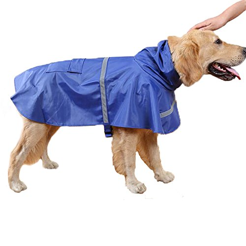 Genenic Large Dog Raincoat Leisure Pet Waterproof Clothes Lightweight Rain Jacket Poncho with Strip Reflective Blue (M) by okdeals