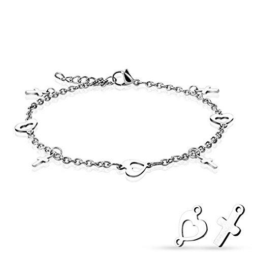 Bracelet , chaine de cheville cœur et croix en acier inoxydable 316L