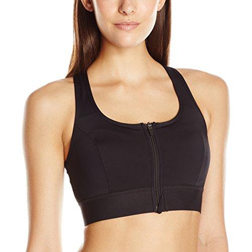Amoena Women's Zip Front Medium Support Pocketed Sport Bra, Black, Large (Best Sports Bra Large Breasts Uk)