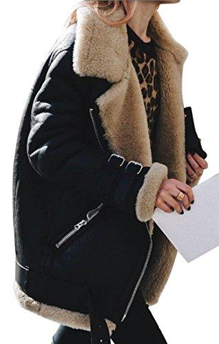 Oberora-Women Winter Warm Zipper Belted Suede Lamb Wool Coat Shearling Jacket Black 4XL