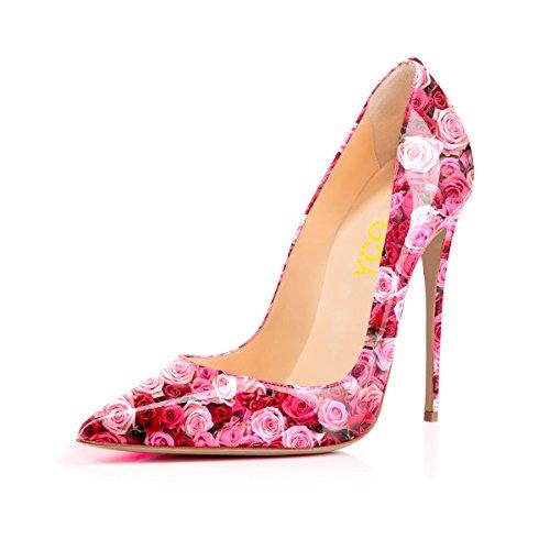 (YCG Women's High Heels Pumps Pink Rose Printing Slip on Shoes US 10)