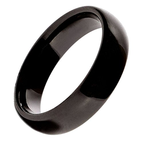 6 Beautiful Ceramic - MJ Beautiful Black Ceramic 6mm Wedding Band Classic High Polished Ring Size 10