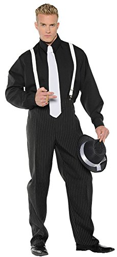 UHC Men's Gangster Outfit 1920's Theme Party Adult Halloween Costume, STD (Male Halloween Outfits)