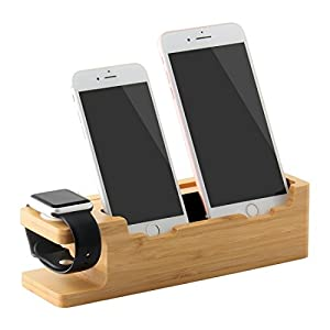 IPUTY Apple Watch Stand, 3 in 1 Bamboo Wood Charging Stand Dock Station Cradle Bracket Mount Holder for Apple Watch(38mm &42mm), Two iPhone or Other Smartphones