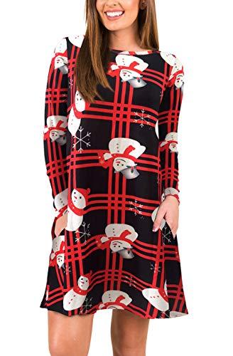 Neve Abiti 2 Collo Natale Vintage Camicia Vestito Red Autunno Rotondo Stampa Fashion Corto Ragazza Abito Di Pupazzo Manica Con Elegante Estivi Lunga Vestiti Donna Sciolto Invernali Mini 1JlKcF