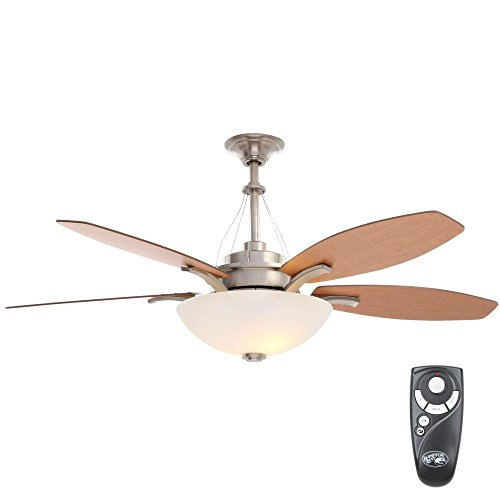 Hampton Bay Brookedale 60 in. Indoor Brushed Nickel Ceiling Fan with Light Kit and Remote Control