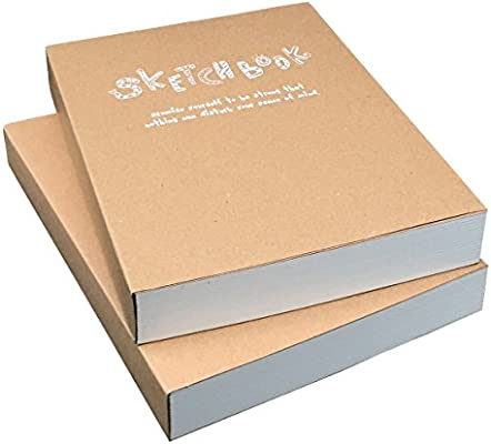 Set of 2 Blank Plain Sketch Books 150x210mm Paper Ideal for Drawing /& Sketching- 128 sheets//256 pages 180 Degree Opening 125g Thick Paper A5 Size 2pcs Kraft Cover Drawing Notebook /& Sketchbook