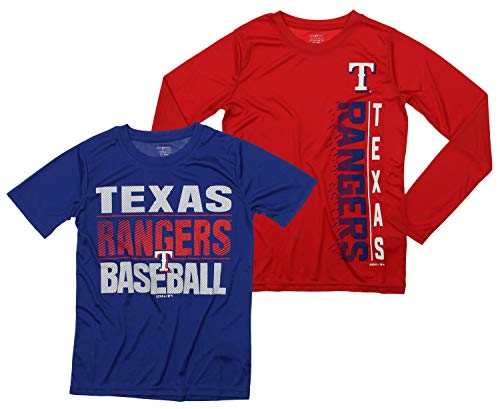 Outerstuff MLB Boys Young Baseball Fan Two Performance T-Shirt Set, Texas Rangers, Small 8