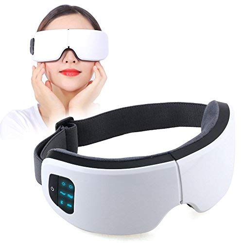 JHDLY Foldable Rechargeable Eye Massager,Portable Eyestrain Relief Heat Compression Function ,Protect Eye Fatigue,Support Wireless Bluetooth,with Adjustable Temperature Status and Pressure