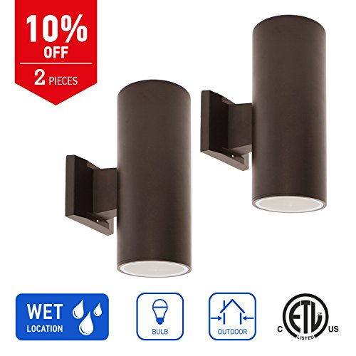 in Home 2-Light Outdoor up and Down Wall Mount Latern Fixture C01 Series Modern Design Bronze Finish (2 Pack), ETL Listed