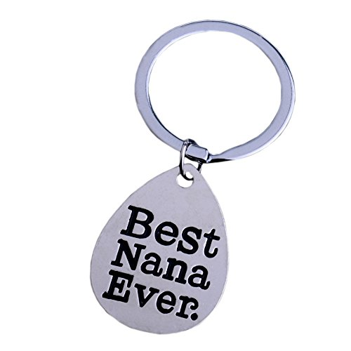 (Gifts for Nana Best Nana Ever Wood Heart Keychain Key Tag Nana Gifts)