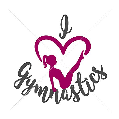 love Gymnastics Girls SVG eps dxf png Files for Cutting Machines like Silhouette Cameo and Cricut, Commercial Use Digital Design
