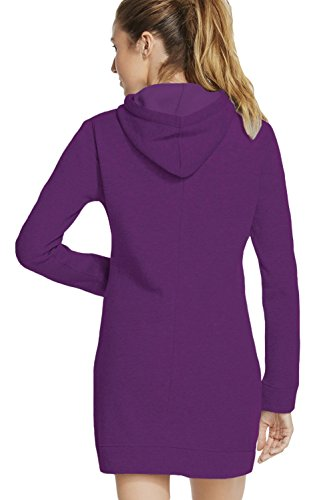 Fit CutePaw Dress Casual Slim Sleeve Sporty Hoodie Front Purple Club Long Pocket Women's Mini 1aRrqn14X