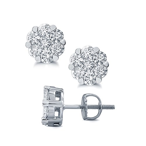 1/6 cttw Round White Diamond 10K White Gold Cluster 7 stone flower earring.