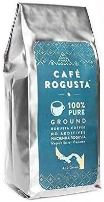 Cafe Rogusta Panama Organic Ground Coffee - Medium Coarse Strong, Double Caffeine Single Origin Robusta - Sustainable - Fair Trade - Medium to Dark Roast Panamanian - 400 grams