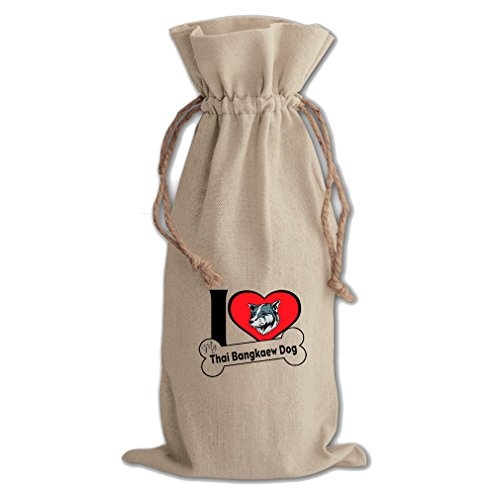 Canvas Wine Drawstring Bag I Love My Thai Bangkaew Dogdog Style 2 Style In Print by Style in Print