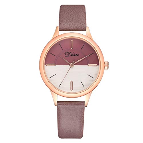 HOSOME Women's Watch Luxury Fashion Lady Simple Dial Leather Belt Watch Two Tone Quartz Watch