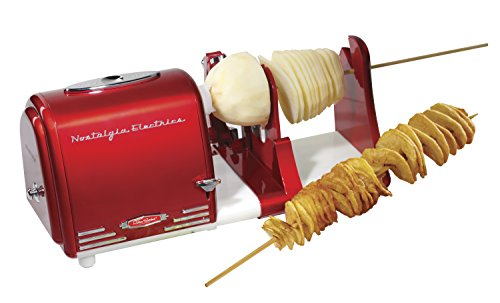 Nostalgia PT300RETRORED Retro Series Spiral Twister, Peeler & Potato Chip on a Stick Maker