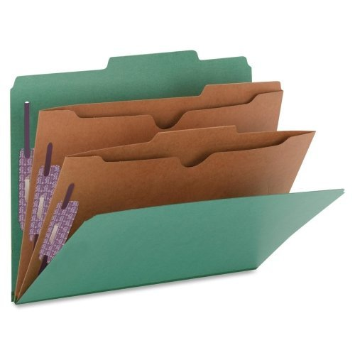 SMD14083 - Smead 14083 Green Pressboard Classification Folders with Pocket-Style Dividers and SafeSHIEL