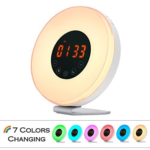 Wake Up Light Alarm Clock - USCCE (2017 Sunrise Simulation Alarm Clock with Snooze/Sunset Function, Nature Sounds, FM Radio, 7 Colors Changing, Touch Control Alarm Clock Radio (White)