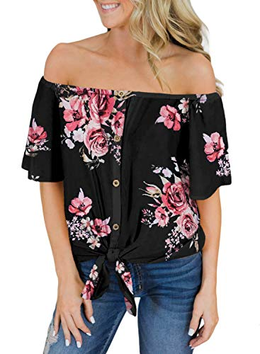 (AlvaQ Women Cold Shoulder Short Sleeve Tie Knot Floral Print Tops Summer Casual Loose Shirt Blouse Black Small )