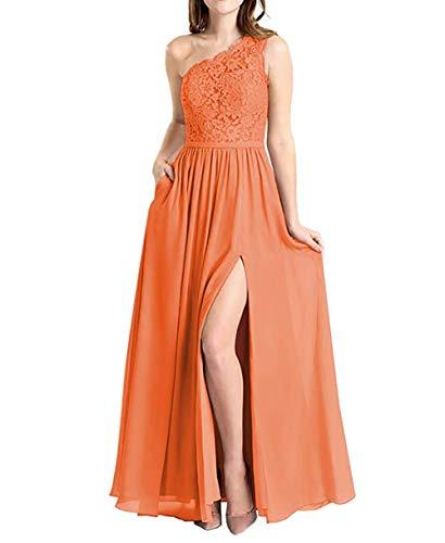 Molisa Women's One Shoulder Lace Chiffon Bridesmaid Dress Slit Prom Gowns Orange Size 8