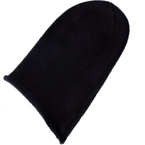 (Love Cashmere Mens 100% Cashmere Beanie Hat - Black - Hand Made in Scotland RRP $120)
