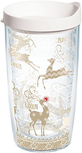 Tervis 1129500 Traditional Tumbler with Lid, On Comet and Cupid, Donner and Blitzen On Dasher, Dancer, Prancer, Vixen and Rudolph too All of Santa's reindeer make this design a holiday treat. , White (Cupid Reindeer)
