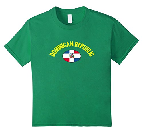 unisex-child Dominican Republic Oval Flag: Travel Island Tourist T-Shirt 6 Kelly (Oval Green T-shirt)