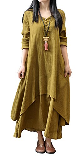 R.Vivimos Women Vintage Long Cotton Linen Loose Dress Medium Yellow