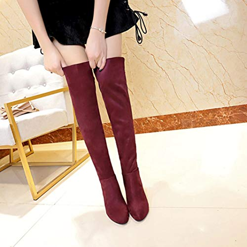 High Boots Boots Stretch Heels High Ladies Shoes Red DAYSEVENTH Knee High Sexy Faux Slim Pw8q5cX1zx