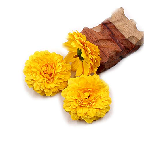 Marigold Fake Flower Heads Bulk Silk Artificial Flowers Wedding Party Decorative Flower DIY Festival Home Decor Hat Ornament Simulation Fake Flower Flower Decorative 15pcs (Yellow)