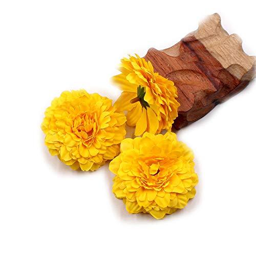 Marigold Fake Flower Heads Bulk Silk Artificial Flowers Wedding Party Decorative Flower DIY Festival Home Decor Hat Ornament Simulation Fake Flower Flower Decorative 15pcs (Yellow) (Paper Mexican Flower Bouquet)