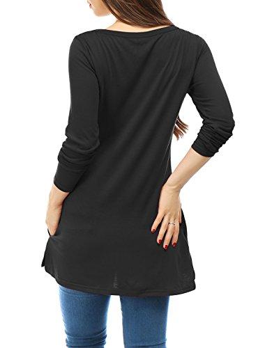K Fendue Manches c Poches Black t Top Allegra col Tunique w Femme Longues V URWfdnwaq