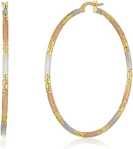 14k Tri-Color Gold Italian Satin Finished 40mm Diameter Hoop Earrings
