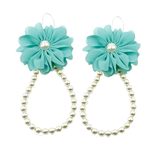 Price comparison product image Voberry® Baby Infant Toddler Girl's Pearl Chiffon Flower Barefoots Beach Sandals Foot Flower Foot bracelet Jewelry (Blue)