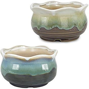 Amazon Com Dahlia Set Of 2 Wavy Rim Paint Drip Glaze