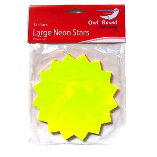 Size 152mm x 152mm Pink Yellow Green Orange Neon Large Stars Pricing Cards Mixed colours Pack of 12