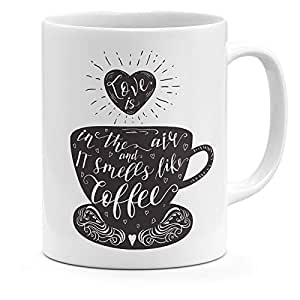 Loud Universe Ceramic Love Is In The Air And It Smells Like Coffee Quote Heart Mug, White