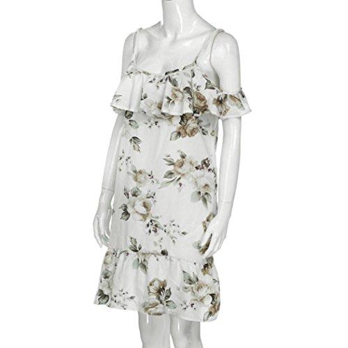 playa Vestido en De Mini hombro Floral Blanco la Mujeres Fiesta Volantes vestido largo Amlaiworld v8qwrBxnRv
