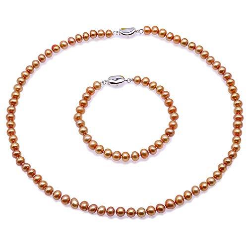 JYX Pearl Necklace Set 7-8mm Dark-Golden Freshwater Pearl Necklace Bracelet Jewelry Set for Women