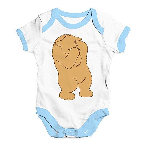 Peek A-boo Vi Bear - Babygrow Baby Romper Peek A Boo Silly Bear Baby Unisex Baby Grow Bodysuit 6-12 Months White Blue Trim