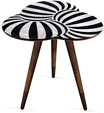 VHD Black White Geometric Design Round Side Table End Table Accent Coffee Table Small Table