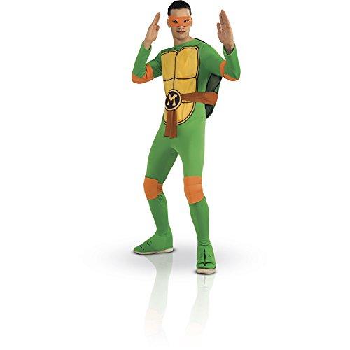 [Nickelodeon Ninja Turtles Adult Michelangelo and Accessories, Green, Standard Costume] (Adult Ninja Turtle Halloween Costumes)