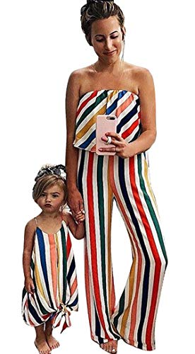 Family Matching One Piece Striped Romper Dress Mommy and Me Spaghetti Straps Dress Off Shoulder Strapless Tube Jumpsuit (Girl, Girl/1-2 T)