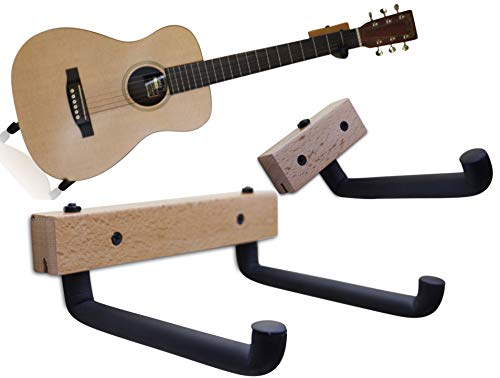 (Horizontal Guitar Wall Hanger Tilt and Display Your Acoustic Guitar, Bass, Electric Guitar, Banjo at a Slanted Angle Sideways - Hang for easy access (Clear Finish))